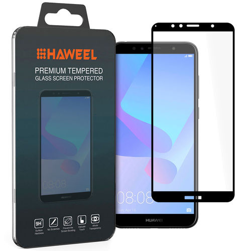 Black Full Coverage Tempered Glass Screen Protector - Huawei Y6 (2018)